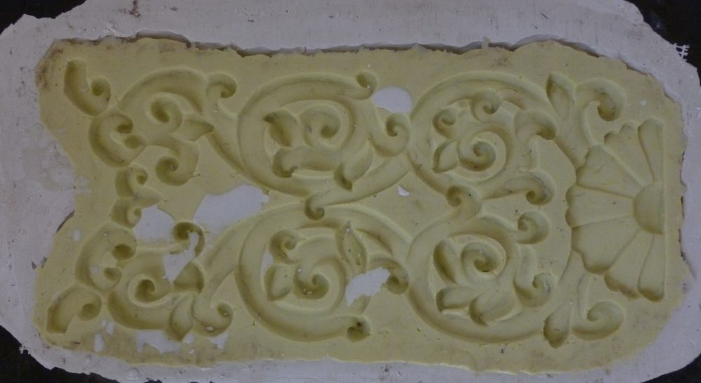 One of the silicone moulds for the Tibetan decorations