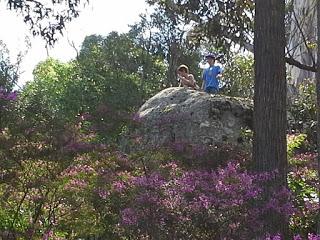 Ашер и Миро на скале